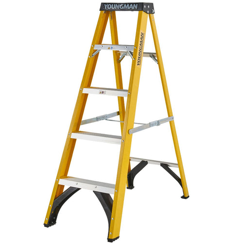 Youngman S400 Fibreglass Heavy Duty Trade Stepladder 5 Tread (52745518)