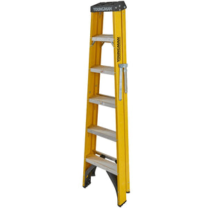 Youngman S400 Fibreglass Heavy Duty Trade Stepladder 6 Tread (52744618)