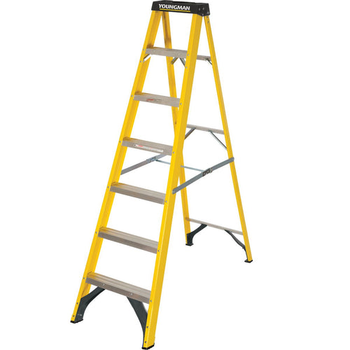 Youngman S400 Fibreglass Heavy Duty Trade Stepladder 7 Tread (52745718)
