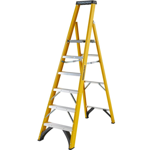 Youngman S400 Fibreglass Heavy Duty Platform Stepladder 6 Tread (52745618)