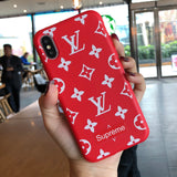 Red Supreme x LV iPhone Cases