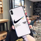 White Off-White Nike Tempered Glass iPhone Case