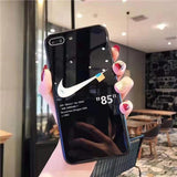 Black Off-White Nike Tempered Glass iPhone Case
