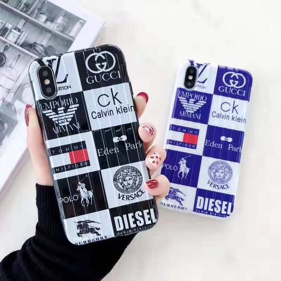 Luxury Brand Logos iPhone Case Gucci, LV, Versace, Polo, and more.