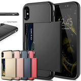 Business Phone Cases For iPhone X XS Max XR Case Slide Armor Wallet Card Slots Holder Cover