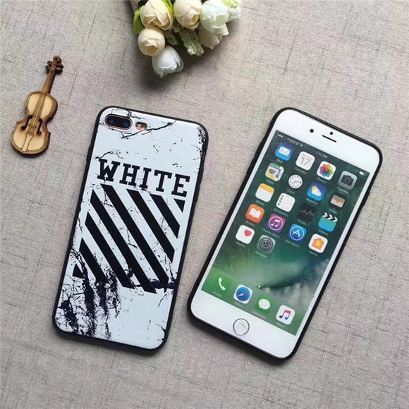 Off-White Stripes Marble Case For All iPhone Sizes
