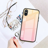 Gradient Tempered Glass Case For iPhone