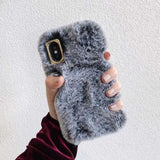 Plush Warm Rabbit Ears Phone Case for iPhone XS Max XR X Case 3D Fluffy Fur Cover for iPhone 6 6S 7 8 Plus Cases