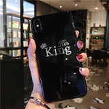 Silicone For iPhone 7 Case Crown For iPhone 6 6s 7 8 Plus X XR XS Max Letter King Queen Phone Case Soft TPU Back Cover