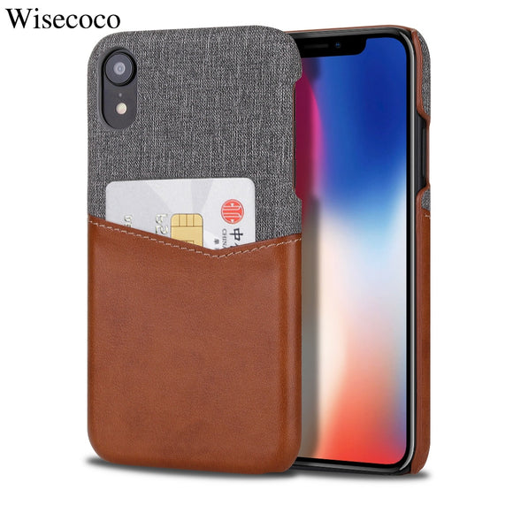 Wallet Case for IPhone Xs Max XR X 8 7 6 6s Plus Soft Fabric + Premium PU Card Leather Case with ID Credit Card Holder Slot Etui