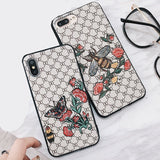 Gucci Butterflies & Bee Embroidery Textured iPhone Case for All Sizes