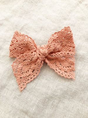 Peach Crochet Lace Bow