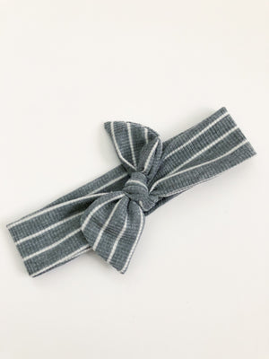 Grey Striped Knit Headband