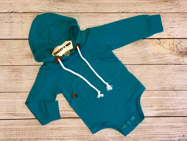 Baby onesie with hood great for parents on the go. Blue baby romper that is a great baby fashion buy