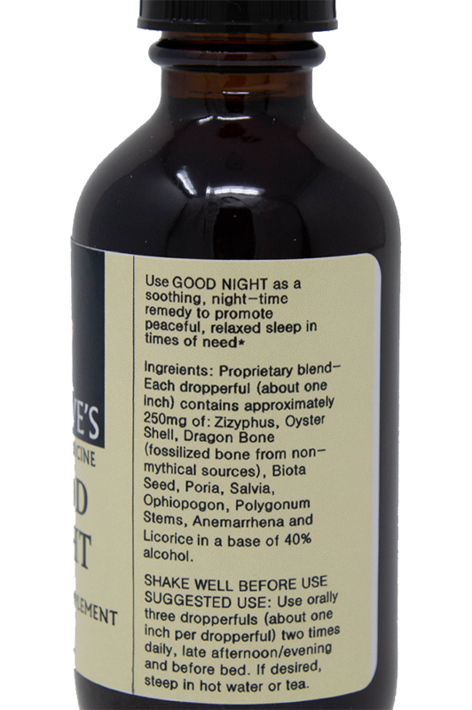 Good Night Ingredients - Dr Daves - Chinese Sleep Medicine