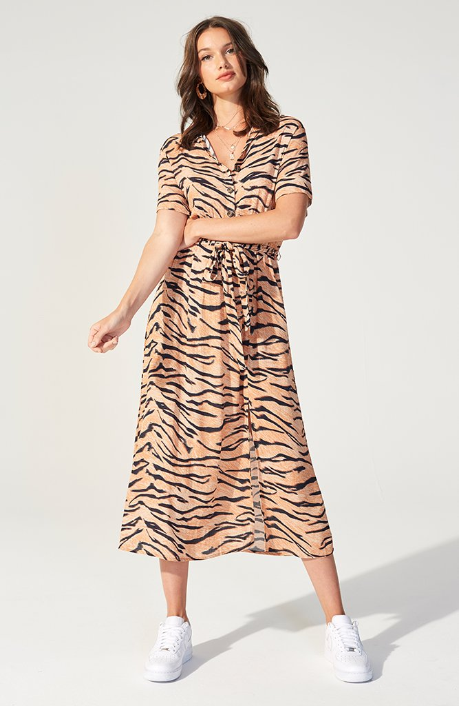 Fiery Tiger Midi Shirt Dress (3607899603037)