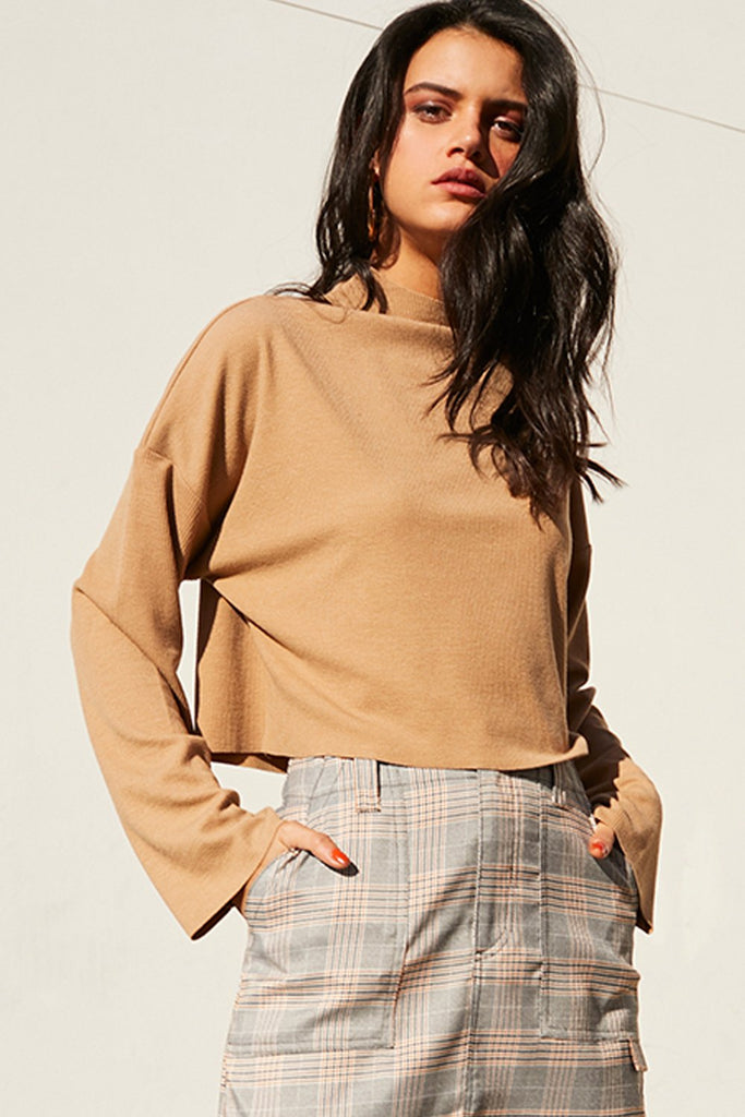 Revive Funnel Neck Top Camel