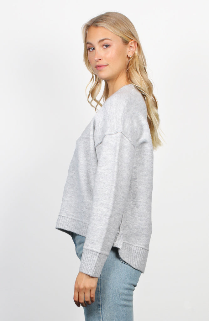 Oversized Grey Hi-Low Jumper