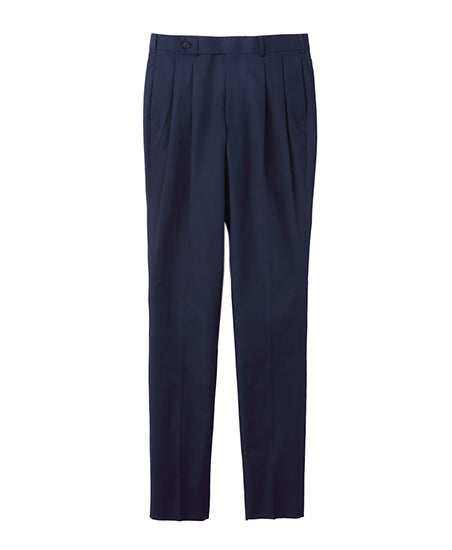 COTTON TWILL PLEATED PANTS / NAVY