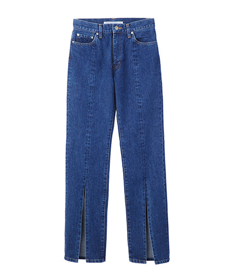 WOMENS WASHED DENIM SLITED PANTS / INDIGO