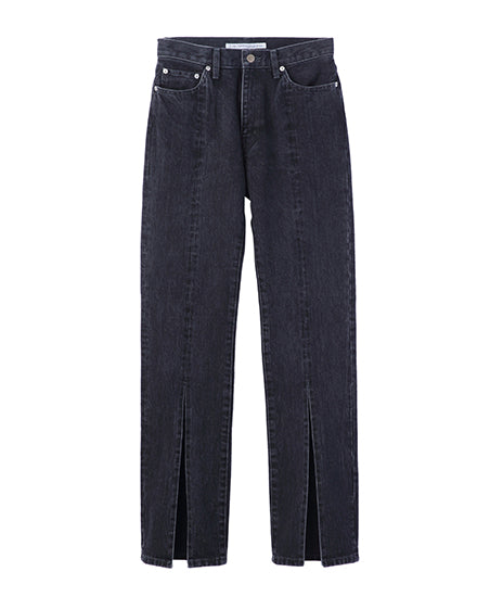 WOMENS WASHED DENIM SLITED PANTS / BLACK