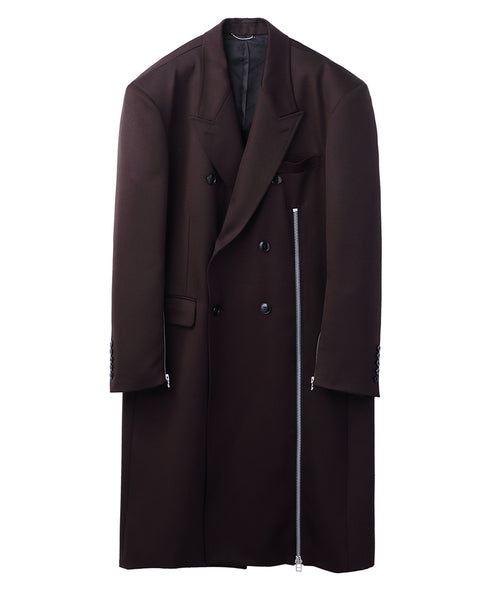 WOOL DOUBLE BREASTED ZIPPED COAT / BROWN