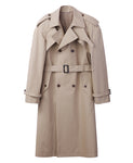 COTTON TWILL POWER SHOULDER TRENCH COAT / BEIGE
