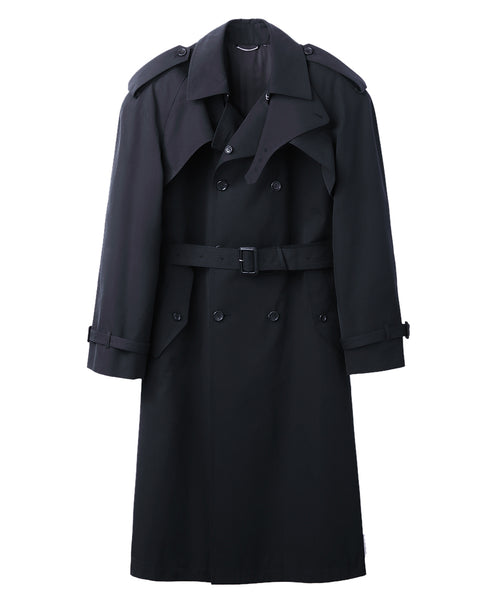 COTTON TWILL POWER SHOULDER TRENCH COAT / BLACK