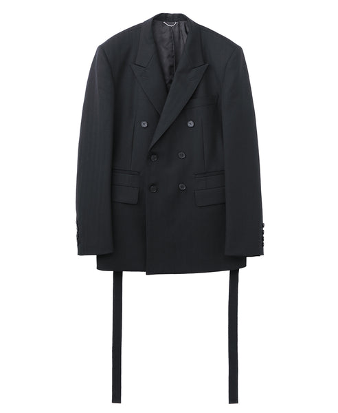 SIDE BUTTON DOUBLE BREASTED JACKET / BLACK
