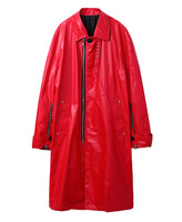 COATED COTTON BAL COLLAR COAT / RED