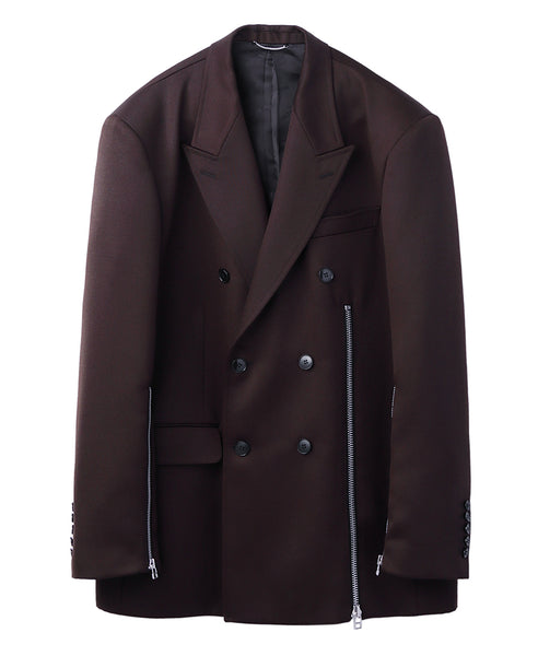 WOOL DOUBLE BREASTED ZIPPED JACKET / BROWN