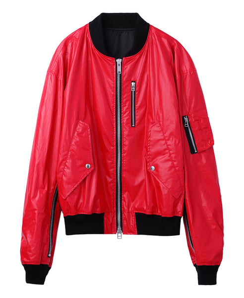 COATED COTTON ZIPPED BOMBER JACKET / RED