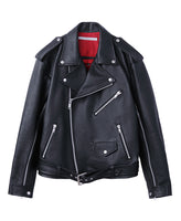 GRAIN LEATHER BACK BUTTONED BIKER'S JACKET