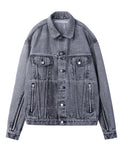 BLEACHED DENIM ZIPPED JACKET / GREY