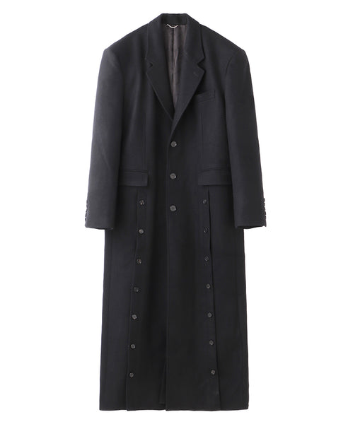 FRONT SIDE BUTTONED COAT / BLACK