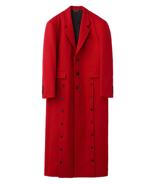 FRONT SIDE BUTTONED COAT / RED
