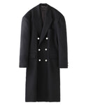 BACK SIDE TUCKED COAT / BLACK