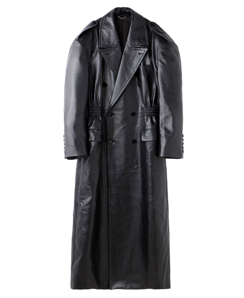 WAIST GATHERED COAT / BLACK