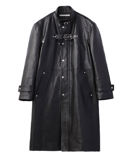 FLONT SIDE BELTED LEATHER COAT / GRAIN