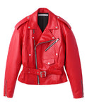 WAIST GATHERED LEATHER JACKET / RED