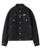 FRONT SIDE BELTED DENIM JACKET / BLACK