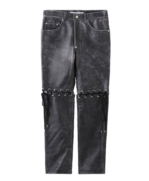 CRACKED LEATHER LACE-UP PANTS