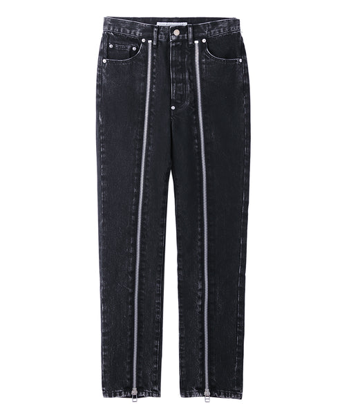 BLEACHED DENIM ZIPPED PANTS / BLACK