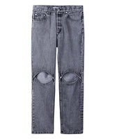 BLEACHED DENIM KNEE HOLE PANTS / GREY