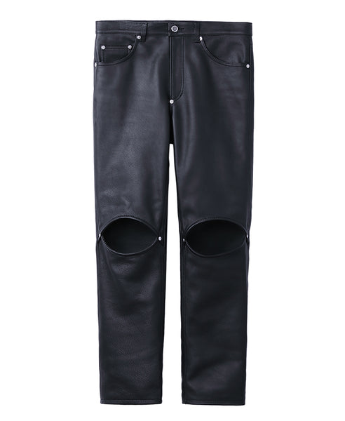 GRAIN LEATHER KNEE HOLE PANTS