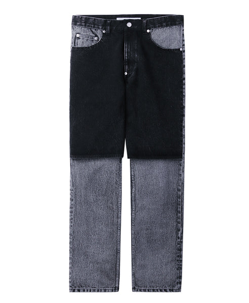 BLEACHED BI-COLOR PANTS / BLACK