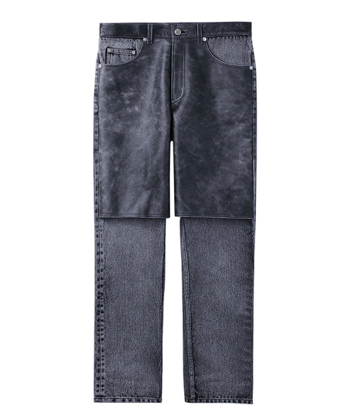 DENIM x CRACKED LEATHER BI-COLOR PANTS