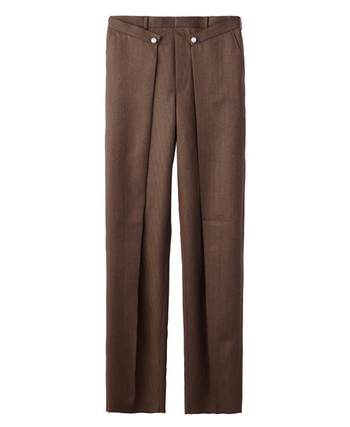 FRONT SIDE TUCKED TROUSERS / BEIGE
