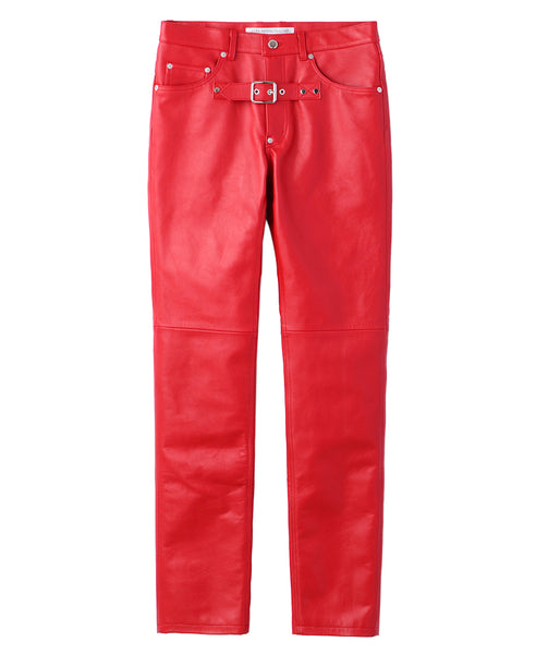 FRONT SIDE BELTED LEATHER PANTS / RED