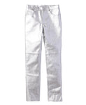 5POCKET LEATHER PANTS / SILVER